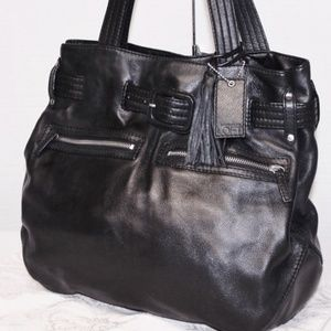 Large Ann Taylor LOFT Leather Tassel Tote Bag